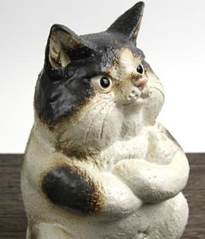 ねこ置き物 陶器ネコ 可愛い猫おきもの 信楽焼