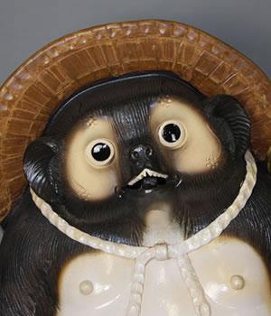 信楽焼きたぬき 陶器タヌキ やきもの狸置き物 しがらき