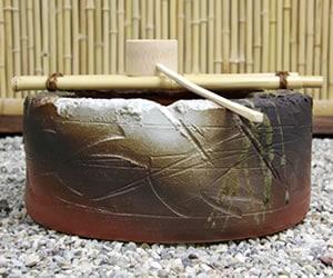 信楽焼きつくばい 陶器ツクバイ やきもの蹲置き物 しがらき