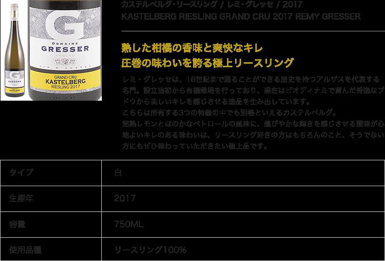 カステルベルグ・リースリング / レミ・グレッセ / 2017