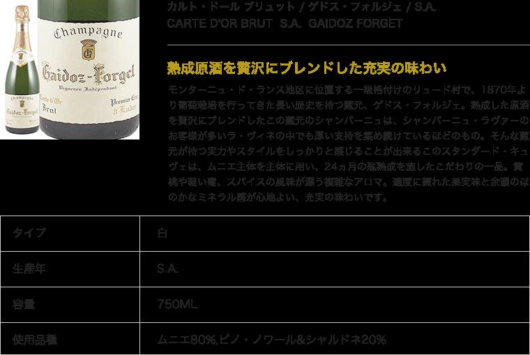 カルト・ドール ブリュット / ゲドス・フォルジェ / S.A.