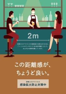 飲食店用コロナ対策チラシ、ポスター 無料ダウンロード 2m この距離感が、ちょうど良い。