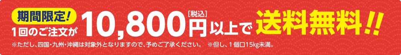 1回のご注文で(※但し、1個口15kg未満)10,800円[税込]以上お買い上げで期間限定送料無料!!※ただし、四国・九州・沖縄は対象外となりますので、予めご了承ください。