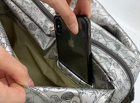 和みねこ クリ手トートMは外側:携帯電話専用ポケット