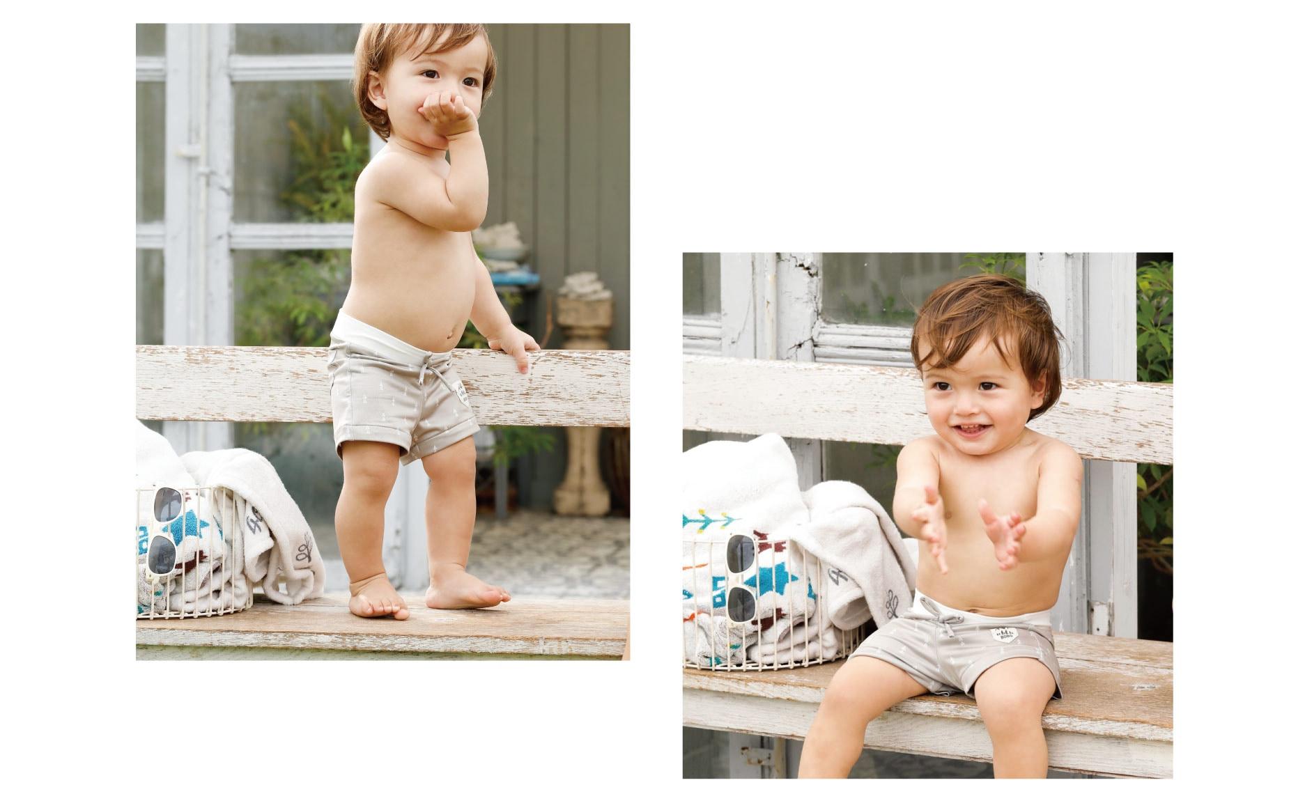 男の子ベビーのスイムウェア、水着、ラッシュガード、帽子