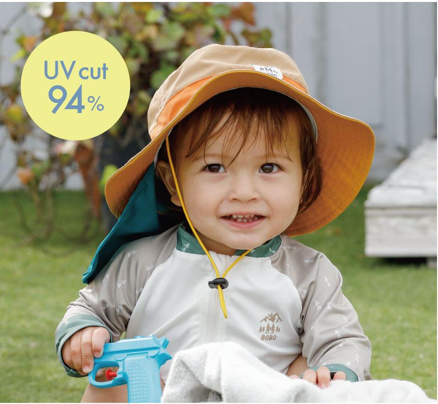ベビーのUVカット帽子