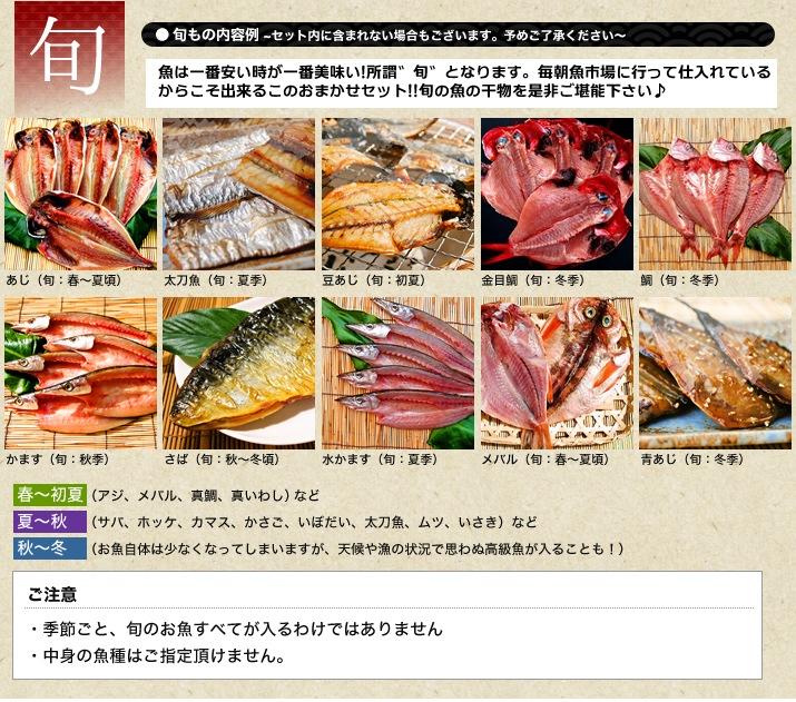 魚の旬の時期の紹介。このような魚を干物にしています。