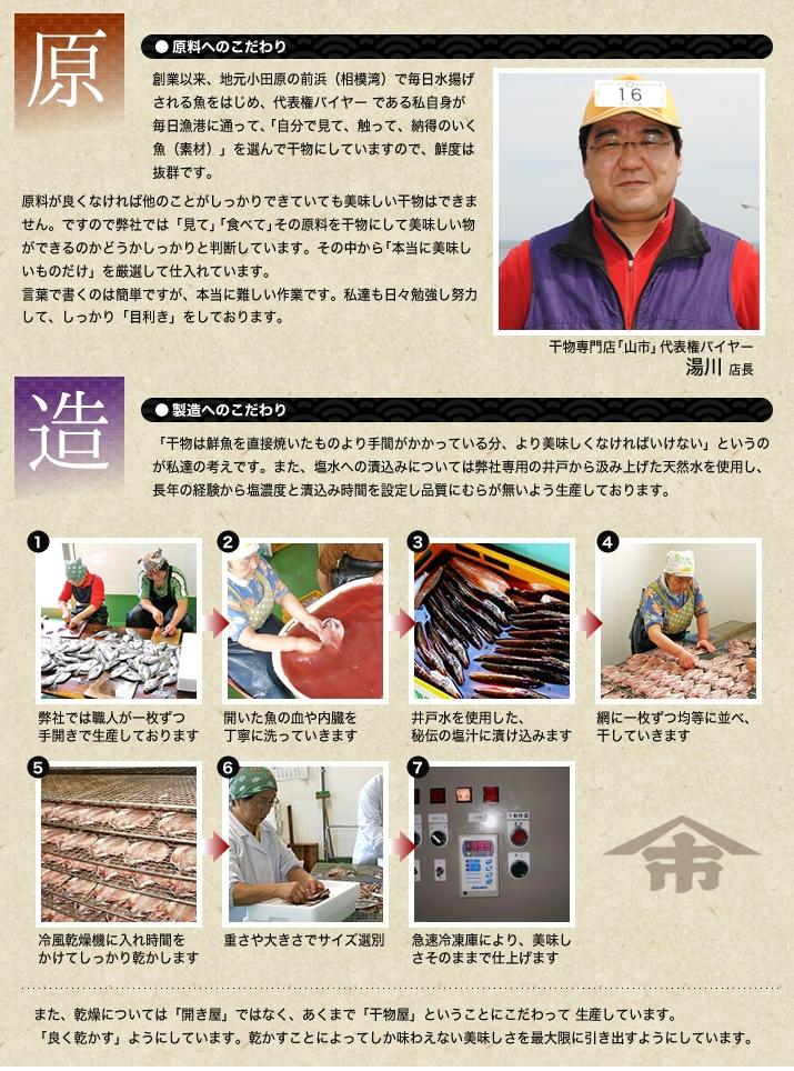 小田原ひもの 山市干物専門店の原料のこだわりと製法のこだわり
