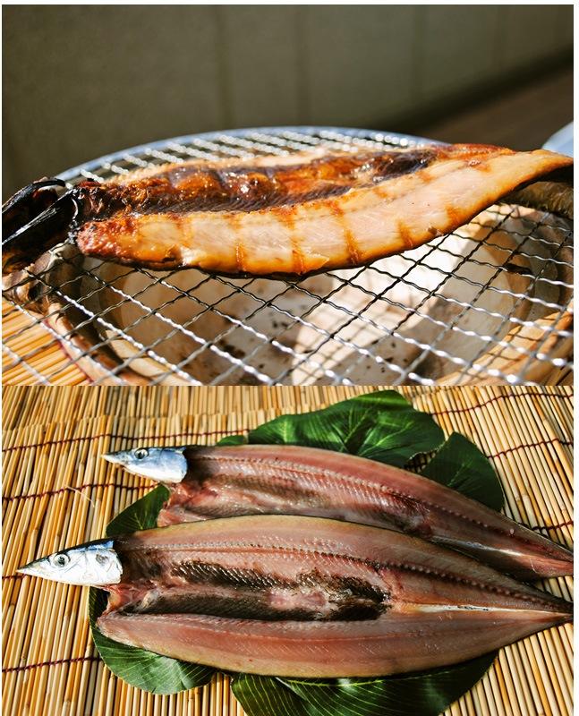 秋刀魚干物を焼いた写真と生の写真