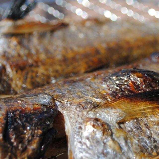 クロムツ干物を焼いた皮目の写真