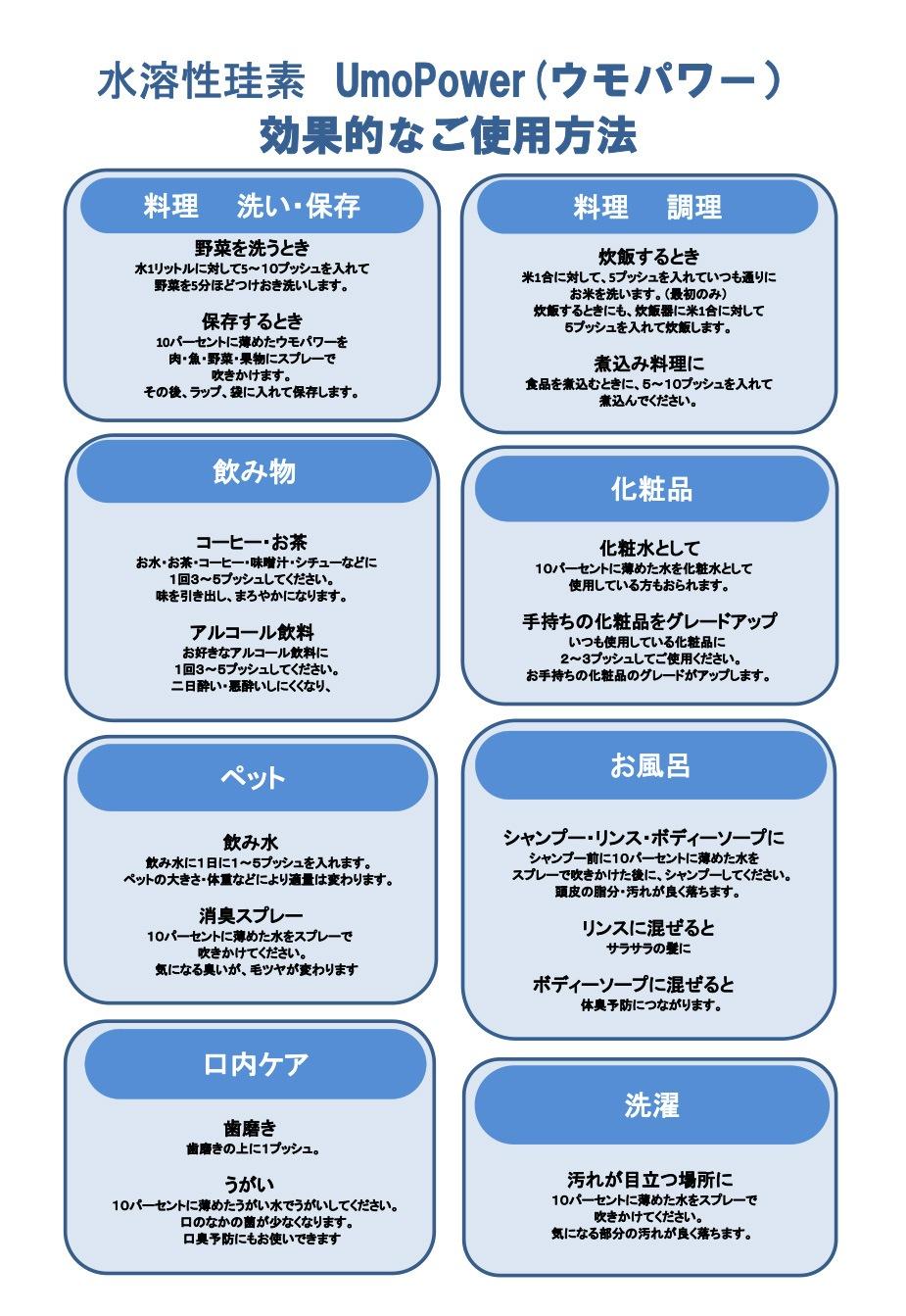 UMO Power(ウモパワー)の使用用途