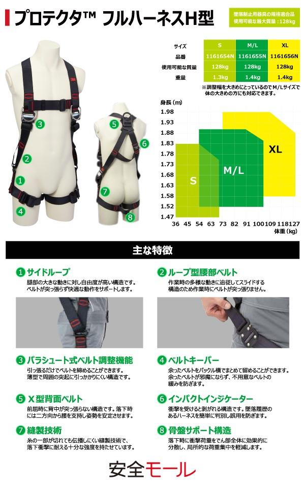1商品画像【3M/スリーエム】フルハーネス型安全帯(プロテクタ H型)