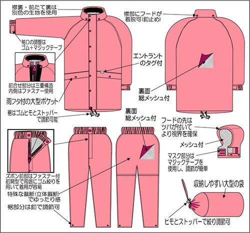 【富士ビニール工業】 レインストーリー300 M〜EL(上下セット)