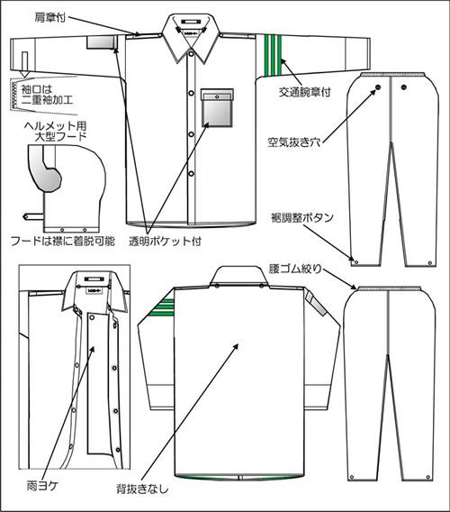 【富士ビニール工業】 レインストーリー2830 4L(上下セット)【業務用・作業用・レインコート 】