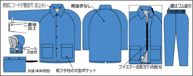 【富士ビニール工業】 タウンコート 4L(上下セット)【業務用・作業用・レインコート 】
