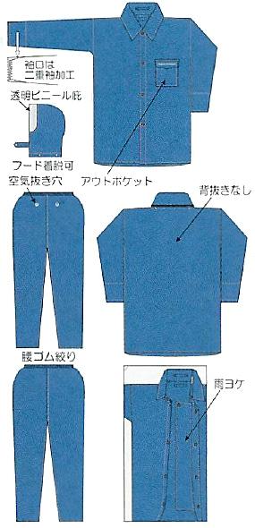 【富士ビニール工業】 レインストーリー1700 4L(上下セット)【業務用・作業用・レインコート 】