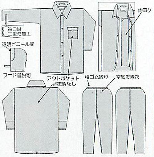 【富士ビニール工業】 レインストーリー1500 SS〜EL(上下セット)【業務用・作業用・レインコート 】