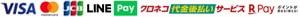 VISA MasterCard JCB Diners AMERICAN EXPRESS RPay amazonpay 代金引換 銀行振込