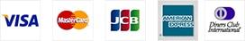 VISA、MasterCard、ダイナースクラブ、JCB、アメリカンエキスプレス