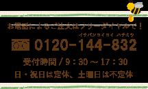 お問合せフリーダイアル 0120-144-832