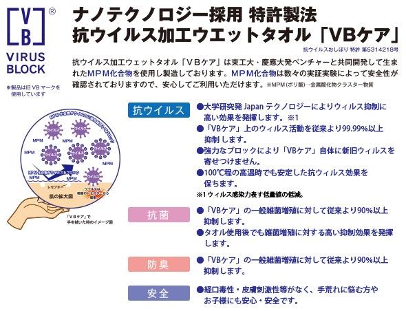 ナノテクノロジー採用 特許製法 抗ウイルス加工ウェットタオル VBケア