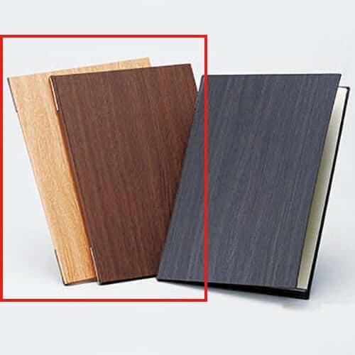 木目柄メニューブック A4 茶 ×1冊