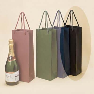 【酒類の販売に】マットカラー手提袋 ブラック