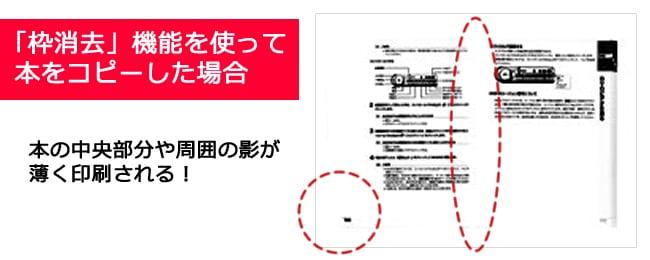 枠消去機能を使い本をコピー機で綺麗にコピーするイメージ