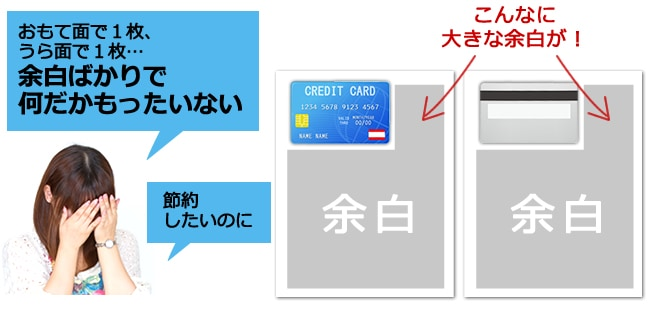 カードの表裏コピーを片面ずつ2枚で印刷してしまうイメージ