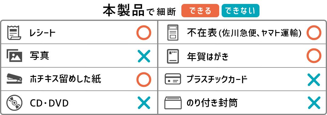 ナカバヤシ 業務用シュレッダー NXI-406SPHの細断できるもの、できないものリスト