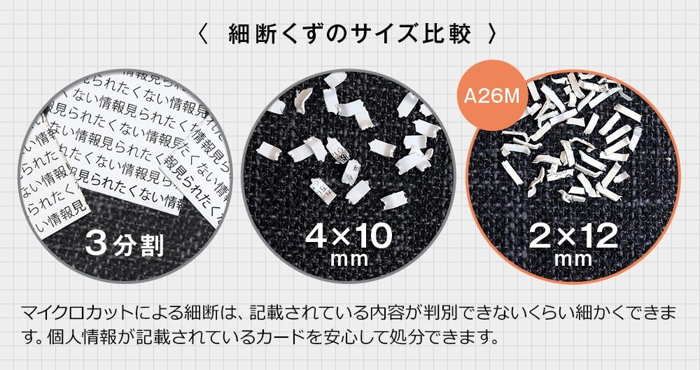 細断くずのサイズ比較 A26M 2×12mm