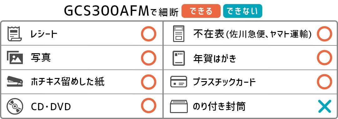 GCS300AFM-STの細断できるもの、細断できないものリスト