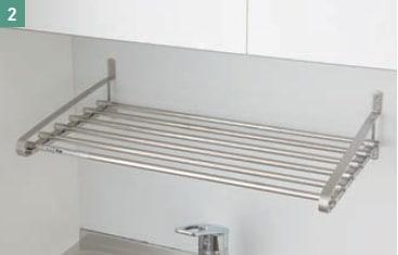 亀井製作所 オフィス用キッチン「オアシス1(Oasis1)」 耐久性に優れたステンレス製の水切棚。