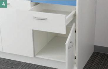亀井製作所 オフィス用キッチン「オアシス1(Oasis1)」 大きな収納スペース