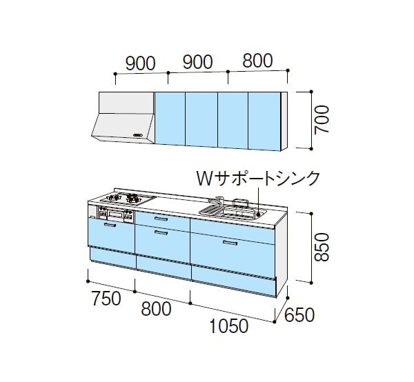リクシル システムキッチン アレスタ(ALESTA) プランNO.1113M 図面