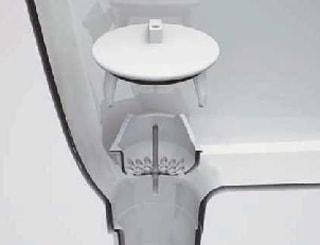 排水口は、洗面器と一体成型