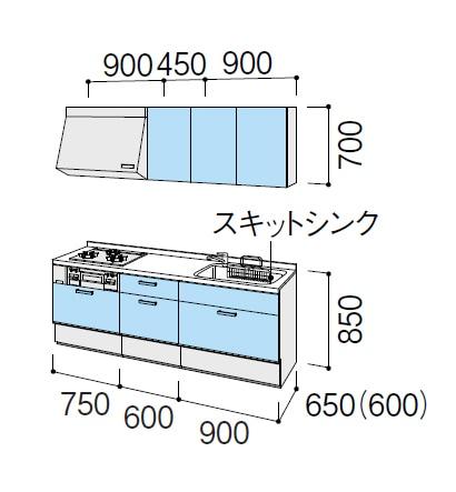 LIXIL システムキッチン Shiera(シエラ)  スライドストッカープラン 図面