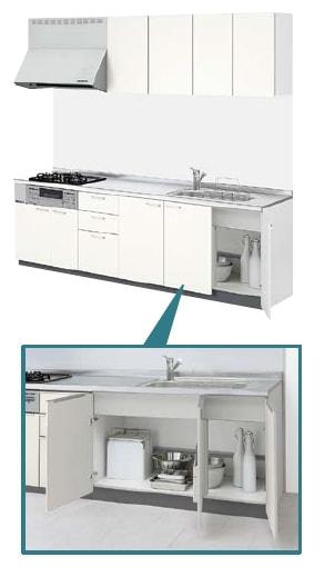 LIXIL システムキッチン Shiera S(シエラS) 開き扉プラン イメージ