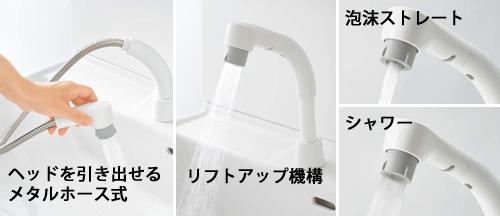 シングルレバーシャワー水栓(ホワイト)使い方