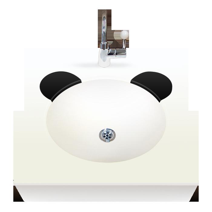 OMOIO キッズ洗面台 アニマルシリーズ パンダ ハンドル式水栓 Pトラップ BR-AM-BE-H-P