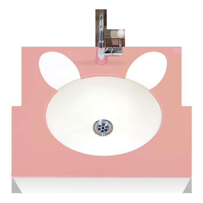 OMOIO キッズ洗面台 アニマルシリーズ ウサギ ハンドル式水栓 Pトラップ BR-AM-BE-H-P