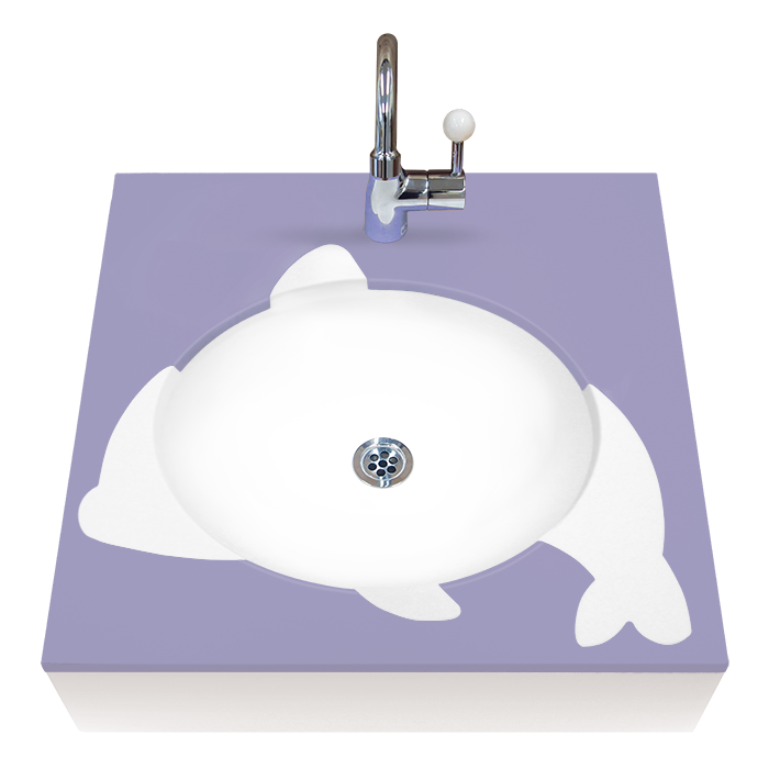 OMOIO キッズ洗面台 アニマルシリーズ イルカ ハンドル式水栓 Pトラップ BR-AM-BE-H-P