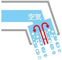TOTO 洗面化粧台 オクターブ エアインシャワー 機構断面イメージ図