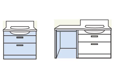 TOTO 洗面化粧台 オクターブスリム 2つのプラン アイコン