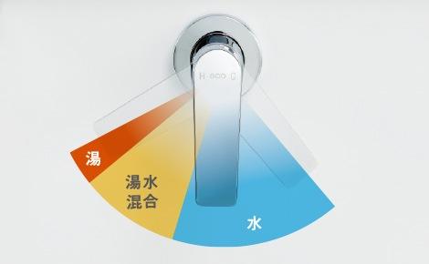 TOTO 洗面化粧台 オクターブスリム お湯と水を、きちんと使い分けられるエコシングル水栓