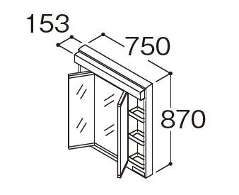 TOTO 洗面化粧台 オクターブスリム 三面鏡(ベーシックLED)