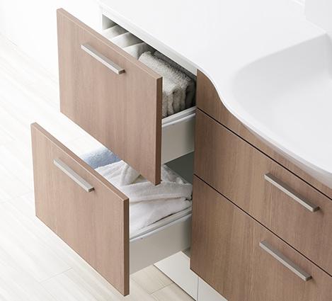 TOTO 洗面化粧台 オクターブスリム 体重計の収納ができるスペースの寸法