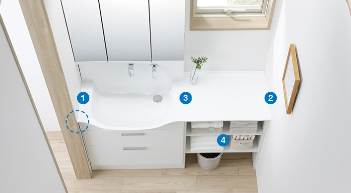 TOTO 洗面化粧台 オクターブスリム 空間にぴったり納まるから、もっと広く、もっと快適に使えます