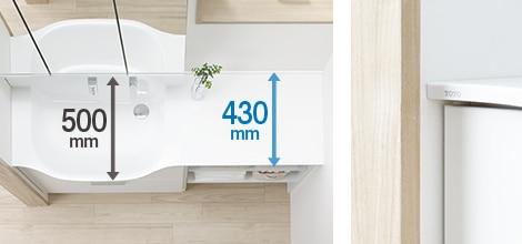 TOTO 洗面化粧台 オクターブスリム 狭い空間に納まる、スリムサイズ