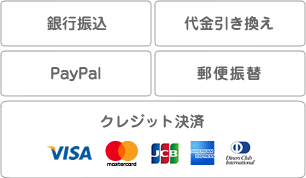 お支払い方法は銀行振込、代金引換、クレジット決済、郵便振替がお選びいただけます。使用できるカードはVISA,MASTERCARD,JCB,AMRICANEXPRESS,DINNERSです。